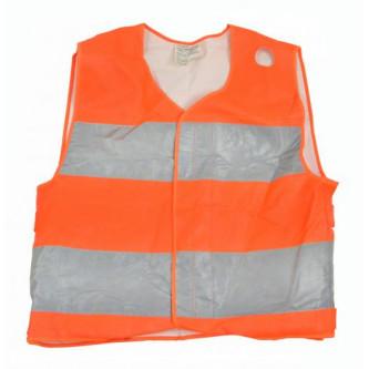 Сигнална жилетка от немската армия , оранжева със сребристи ленти .