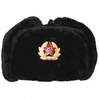 Руска ушанка , цвят черен , екокожа .