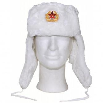 Руска ушанка , цвят бял , екокожа .