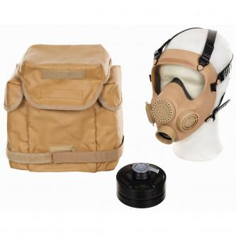 """Противогаз , модел """"MP5 - каки'' с филтър Б-ЗАПАС и  ползвана транспортна чанта"""