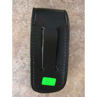 Калъф за джобен нож , кожен , черен , с накрайник за монтаж на колан.