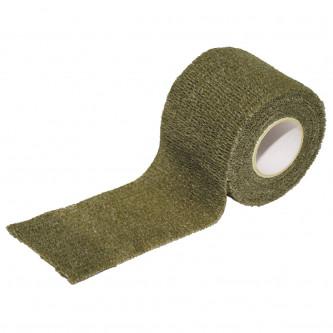 Еластична текстилна камуфлажна лента , цвят ''олив'' 5 cm x 4,5 m,