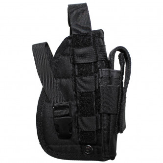 """Кобур , тактически , десен , за горен мотаж , система  """"Molle"""", 1 джоб за муниции , цвят черен ."""