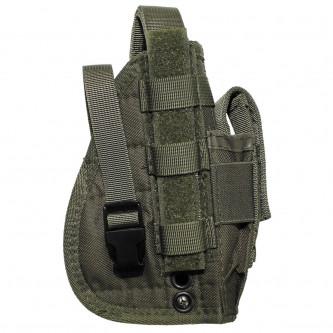 """Кобур , тактически , десен , за горен мотаж , система """"Molle"""", 1 джоб за муниции , цвят ''OD green''"""