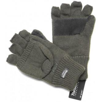 Ръкавици , плетени с рязани пръсти и капак .