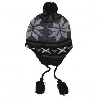 """Шапка , зимна , плетена , модел """"Перу Лима"""", с руно, , цвят'' синьо / черно''."""