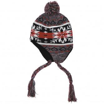 """Шапка , зимна , модел """"Peru Cusco"""", с руно, сиво / червено"""