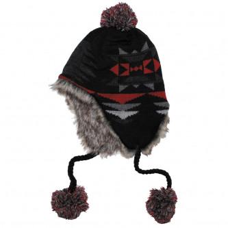 """Шапка , зимна , модел ,  """"Peru Ica"""",с козина , цвят ''червено-черно''."""
