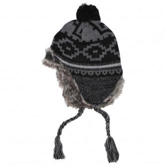 """Шапка """"Перу Пиура"""",зимна , плетена, с козина,цвят,'' черно / сиво''"""