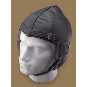 Авиаторски шлем , черен , кожен , немска реплика