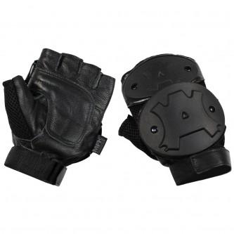 Ръкавици , тактически , без пръси , кожени , с твърди протектори , черни .