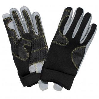 Ръкавици , работни , неопрен и кожа , черни .