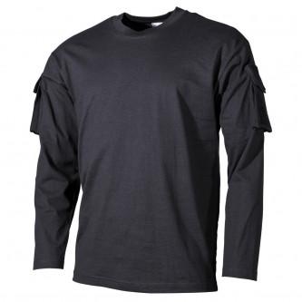 Блуза , тактическа , памучна , цвят черен , дълъг ръкав .