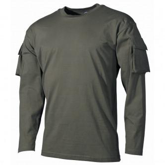 Блуза , тактическа , памучна , цвят ''олив'' , дълъг ръкав .