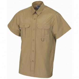 Риза с къс ръкав , цвят '' каки'' , микрофибър