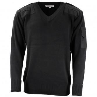 Британски военен пуловер ,цвят черен ,  V-образна яка, стари складови наличности .