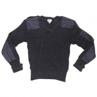 Британски '' commando'' пуловер  ,цвят синьо-сиво ,  затворена  яка, стари складови наличности .