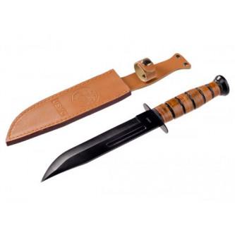 Нож боен  '' USMC''   с кожена кания и ръкохватка